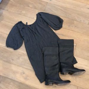 BCBG Dark grey wool blend fall/winter dress.